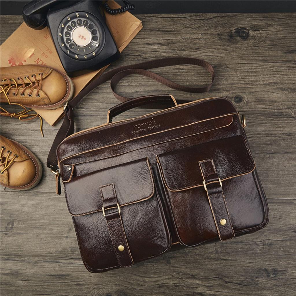 Retro Men Bag Genuine Leather Briefcase Travel Suitcase Messenger Shoulder Tote Back Handbag Large Casual Business Laptop Pocket