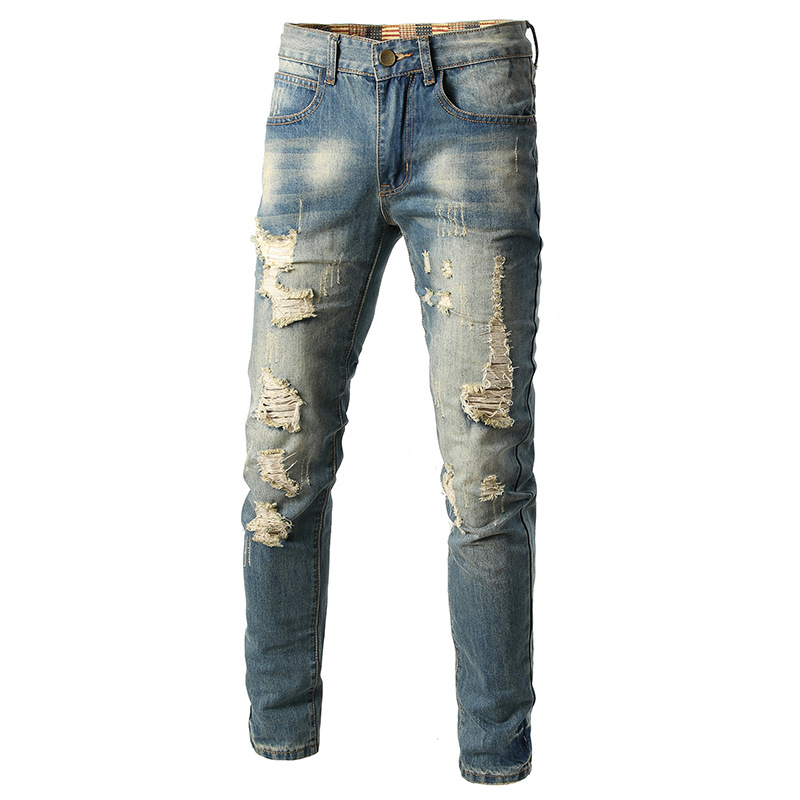 Western Style New Style With Holes Jeans Men's Korean Version Of Youth Complex Ancient Retro Light Color Ripped Jeans Straight-L