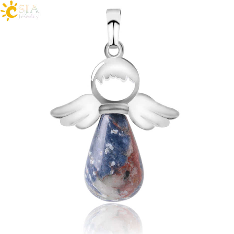 CSJA Natural Stones Angels Wings Pendant for Necklace Pink Quartz Onyx Pendants Silver-color Water Drop Female Jewelry Gift E949