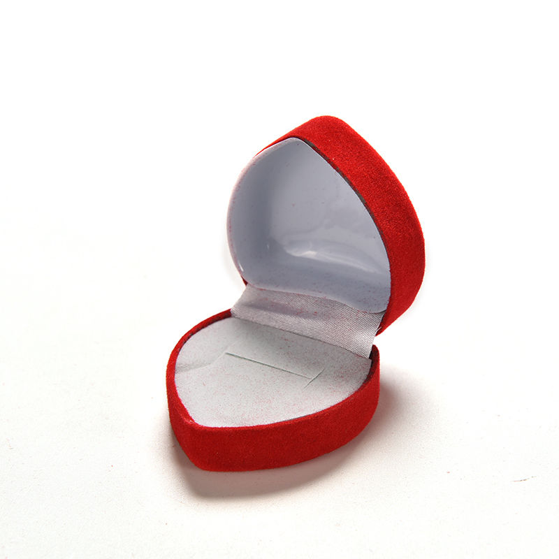1Pcs Durable Foldable Red Heart Shaped Lid Open Velvet Ring Box Mini Cute Red Carrying Case Display Jewelry Box Packaging
