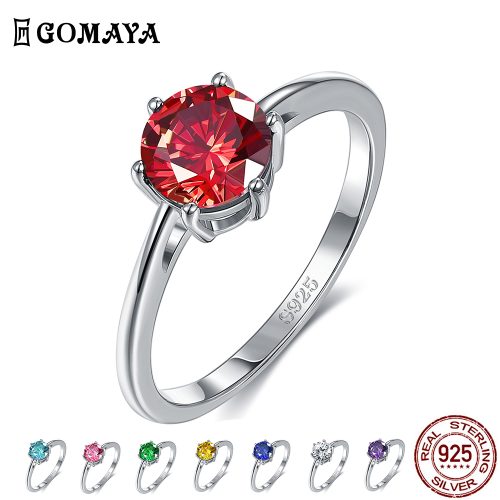 GOMAYA Natural Emerald Color CZ Finger Rings For Women 8MM Classic Silver 925 Jewelry Wedding Engagement Ring Fine Jewelry Gift