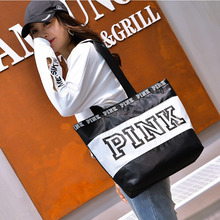 Women Travel Tote Crossbody Bag Printing Pink Letter Foldable Waterproof Handbag Female Fashion Shopping Shoulder