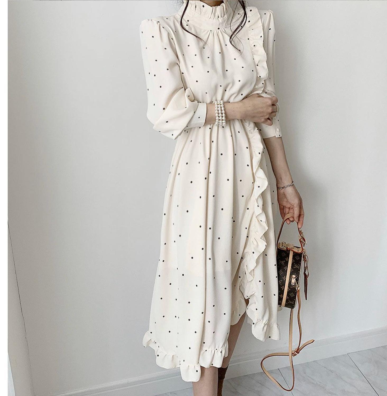 Fashion Ruffle Split O Neck Printed Summer Women Dress Vintage Women Midi  Dresses Long Sleeve A Line Female Dress 2020 Vestidos
