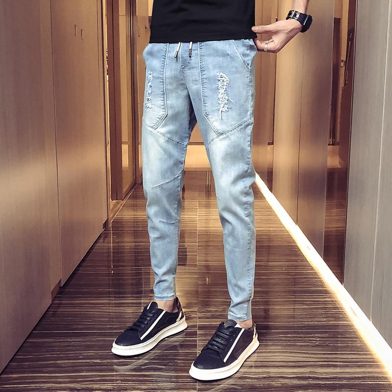Cowboy Pants Male Nine Part Bound Feet Nine Part Pants  Fashion Man Slim Skinny Biker Men Taped Fit Pants Jean Homme Slim