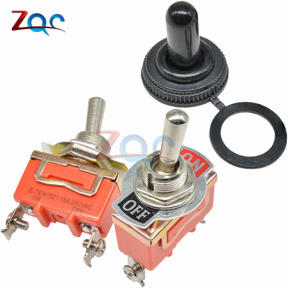Mini Auto Saklar Toggle AC 250V 15A 2 Pin DPDT On/Off 2 Posisi E-TEN1021 Kontak Tembaga Tahan Air cap Orange