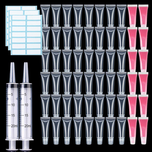 50PCS 5/10/15ml Empty Lipstick Tube With Syringe Clear Soft Lip Gloss Container Refillable Lipgloss Tubes DIY Cosmetic Makeup
