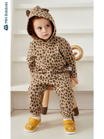 Minibalabala Baby girl clothing suit print baby clothes 2019 autumn new leopard hooded clothes sets
