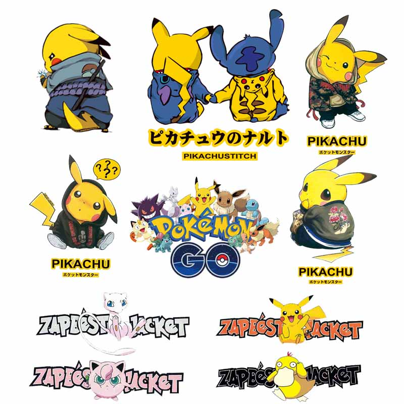 Cartoon Pikachu Patches Applications for Clothes Applique Iron on Transfer Vinyl Pokemon Patch Stickers for Clothing Heat Press