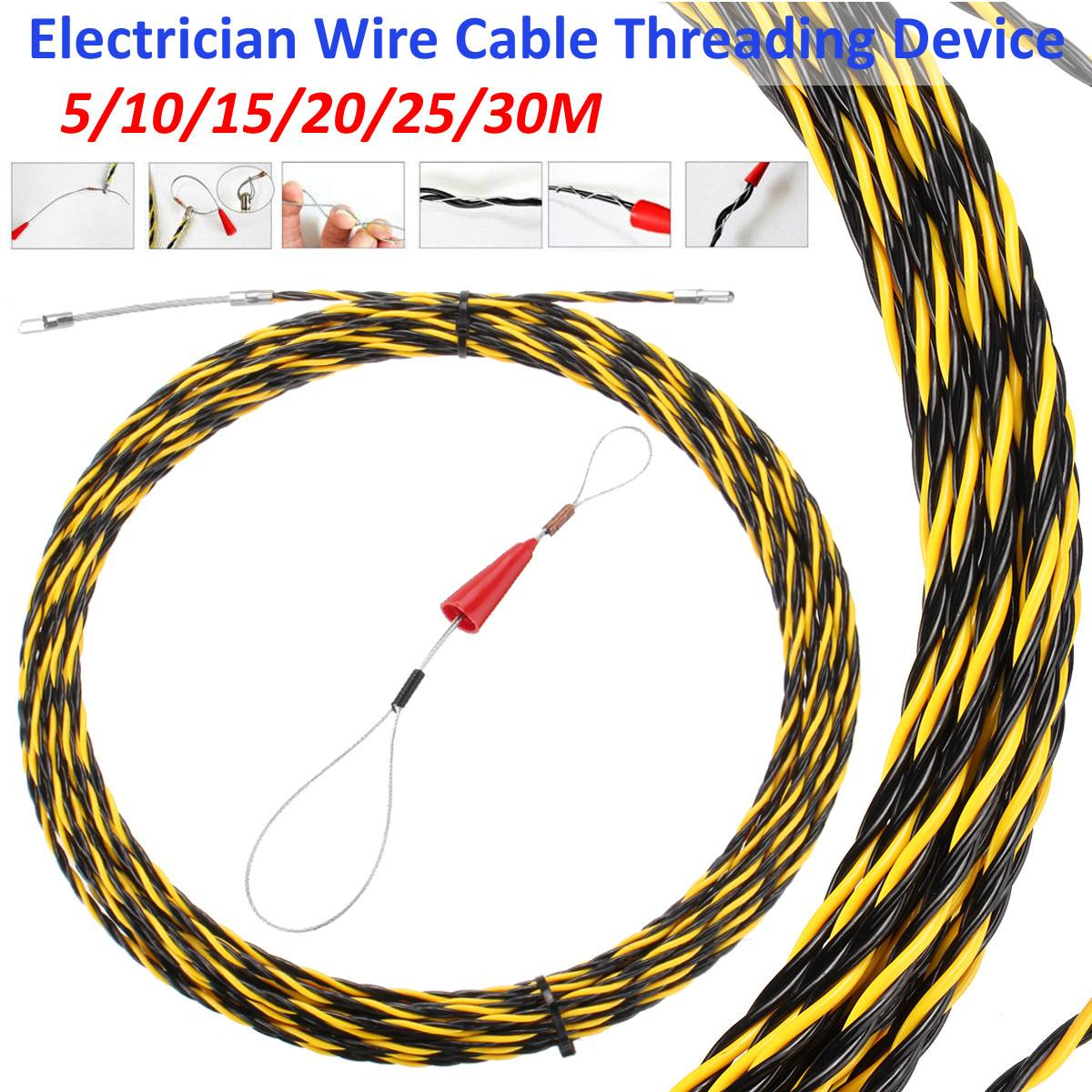 5/10/15/20/25/30M Electrician Threading Device Cable Wire Puller Lead Network Electrical Wire Threader Construction Hand Tool
