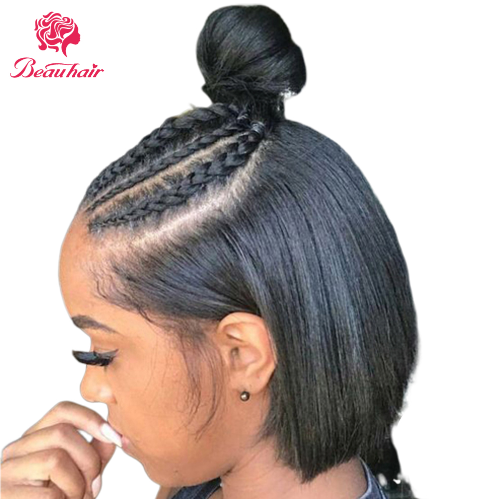 13X4 Lace Front Human Hair Wig 13*4 Short Bob Wig Middle Part Brazilian Human Hair Wig With Baby Hair Deep Part Lace Frontal Wig