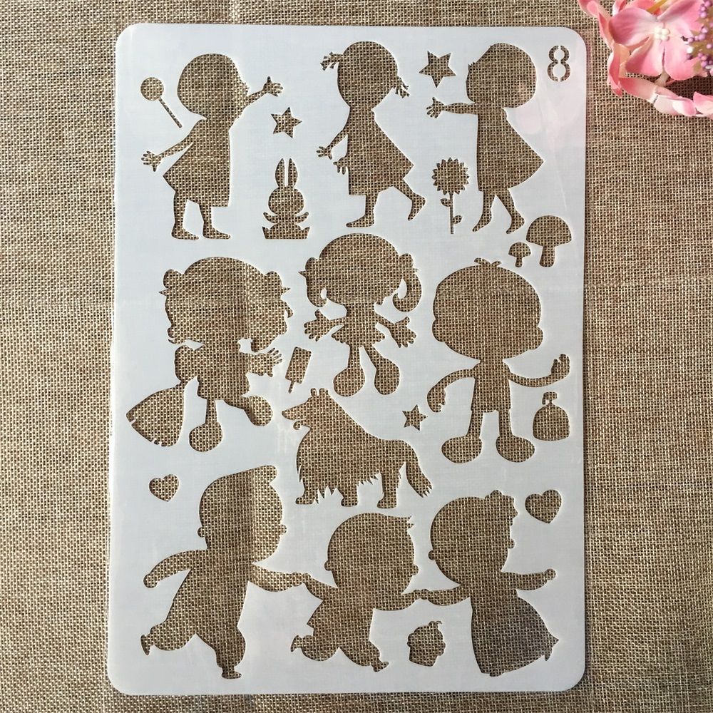 29cm A4 Little Girl Boy Children DIY Craft Layering Stencils Painting Scrapbooking Stamping Embossing Album Paper Card Template