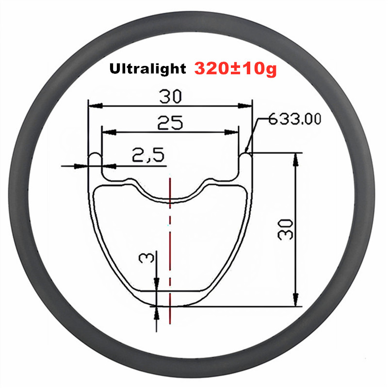 29er 30mm x 30mm MTB XC tubeless hookless carbon <font><b>rim</b></font> 29inch cross country mountain bike wheel 25mm Inner Width <font><b>24H</b></font> 28H 32H 320g image