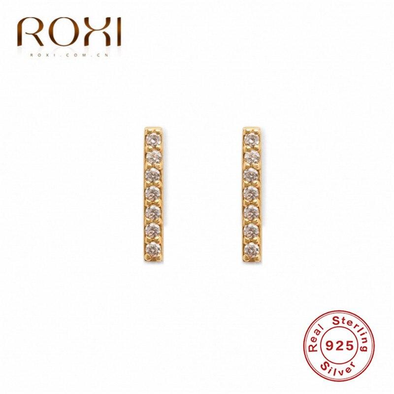 ROXI Simple 925 Sterling Silver Stud Earrings for Women Girl Clear CZ Thin Tiny Bar Earrings Minimalist Jewelry Wedding Earring