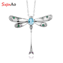 Aquamarine Pendant Necklace Jewelry Dragonfly Gemstones Real-925-Sterling-Silver Women