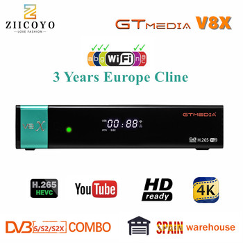New GTmedia V8X Satellite TV Receiver Freesat V8 Super Updated from GTmedia V8 Nova V9 Super with Europe Cline for 3 Years Spain