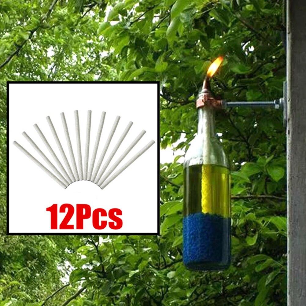 12PCS Oil Lamp Wick Holder Ceramic Holders Torch Wine Bottle Oil Candle Burner Stove Cotton Wick Lamp Fiber Glass Kerosene Wick