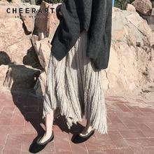 Cheerart Fall Long Skirt Women Elastic High Waist Ladies Asymmetrical Feather Korean Fashion Clothing