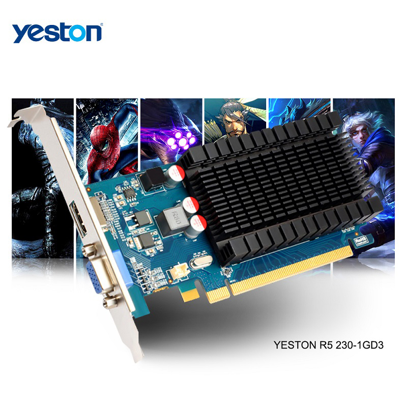 Yeston Radeon R5 230 <font><b>GPU</b></font> <font><b>1GB</b></font> GDDR3 64 bit Gaming Desktop computer PC Video Graphics Cards support VGA/HDMI image