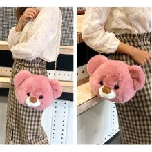 Ready Stock Cute Fluffy Bear Head Fur Pompoms Chain Bag Women Cartoon Sling Bag Fluffy Shoulder Japan Teenage Plush Backpack(China)