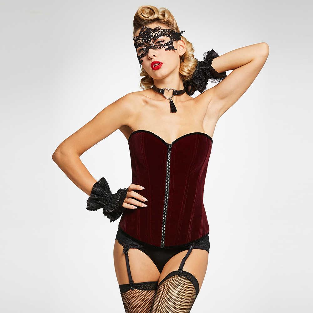 Kadın büstiyer korse seksi vücut şekillendirme Vintage fermuar Overbust mor gotik korse dantel sıkı iç çamaşırı bayanlar kırmızı korseler