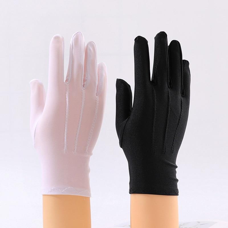 Женские и мужские короткие перчатки для церемонии, однотонные черные, белые летние тонкие солнцезащитные наручные перчатки унисекс, эластичные перчатки из спандекса для выступлений|Женские перчатки|   | АлиЭкспресс