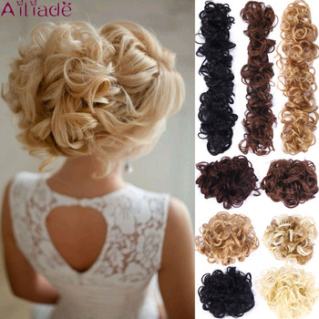 AILIADE Women's Curly Chignon With Elastic Rubber Band Heat Resistant Synthetic Twining Hair Bun Extensions Hairpieces - discount item  35% OFF Synthetic Hair