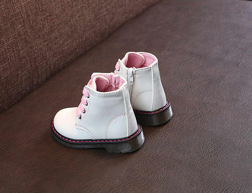 เด็กรองเท้าฤดูใบไม้ร่วงฤดูหนาวขายสาว Martin รองเท้าบูทแฟชั่นเด็กหนังรองเท้าซิปรองเท้าสบายๆรองเท้า