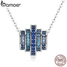 BAMOER אותנטי 100% 925 סטרלינג כסף הדרגתי שינוי עגול גלגל כחול מלודי תליון שרשראות לנשים תכשיטים מתנה