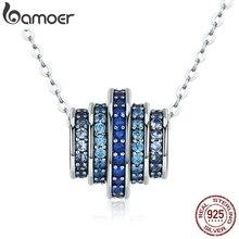 BAMOER otantik % 100% 925 gümüş kademeli değişim yuvarlak tekerlek mavi melodi kolye kolye kadınlar için güzel takı hediye