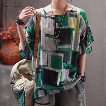 Vintage Printed Tee Shirts Women's Check Blouse 2020 ZANZEA Casual O Neck Blusas Female Ruffle Tops Plus Size Summer Tunic S-5XL