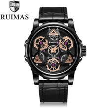 Ruimas Fashion Military Leather Quartz Watch Men Casual Business Waterproof Wrist Man Free Shipping