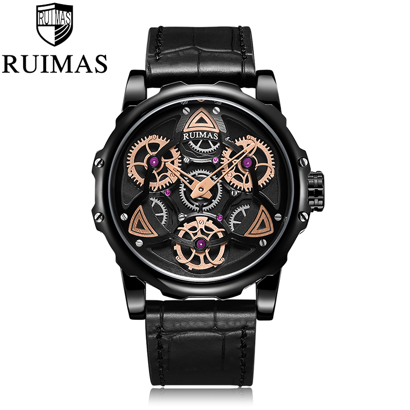 Ruimas Fashion Military Leather Quartz Watch Men Casual Business Waterproof Wrist Watch Man Free Shipping