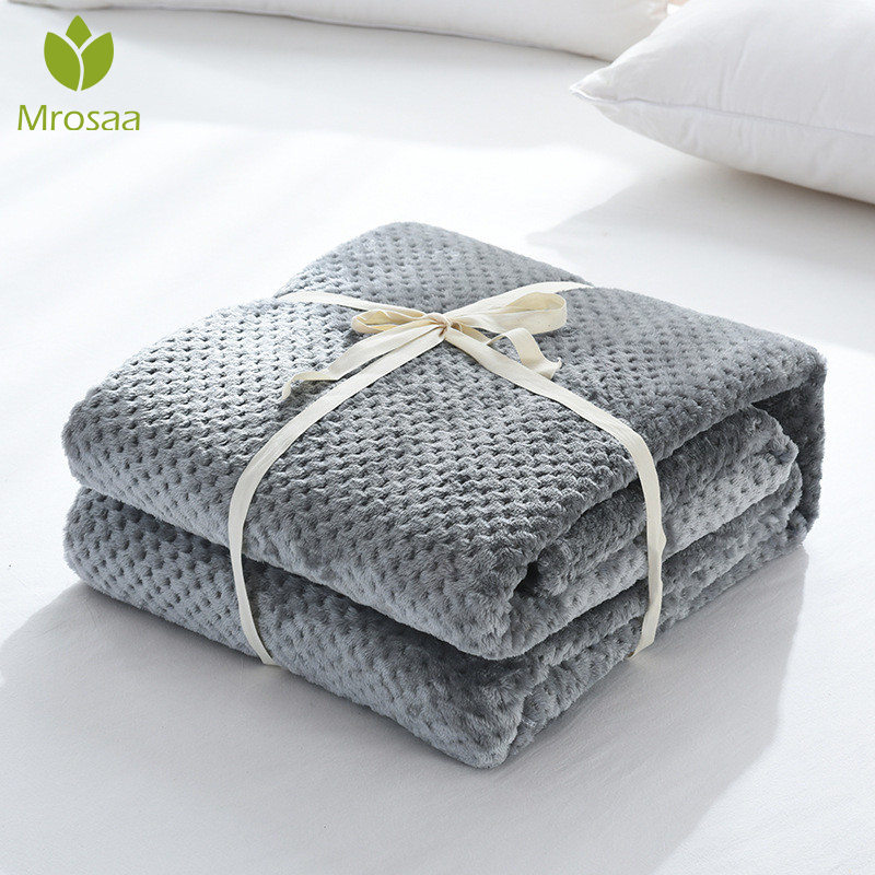 Flannel Fleece Throw Blankets Soft Travel Blankets Solid Color Bedspread Plush Cover For Bed Sofa All-Season Super Soft Blankets