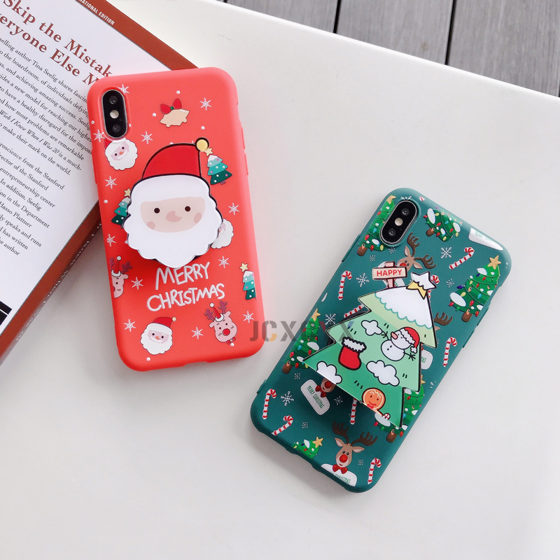 3D Merry Christmas Tree Elk Santa Cute Soft Phone Case For Iphone X XR XS 11 Pro Max 7 8 Plus Holder Stand Cover Gift 10