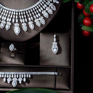 Image 3 - HIBRIDE جديد كامل AAA زركون الكبير Pendientes طقم مجوهرات للنساء الزفاف اكسسوارات الزفاف بارور بيجو فام N 1151