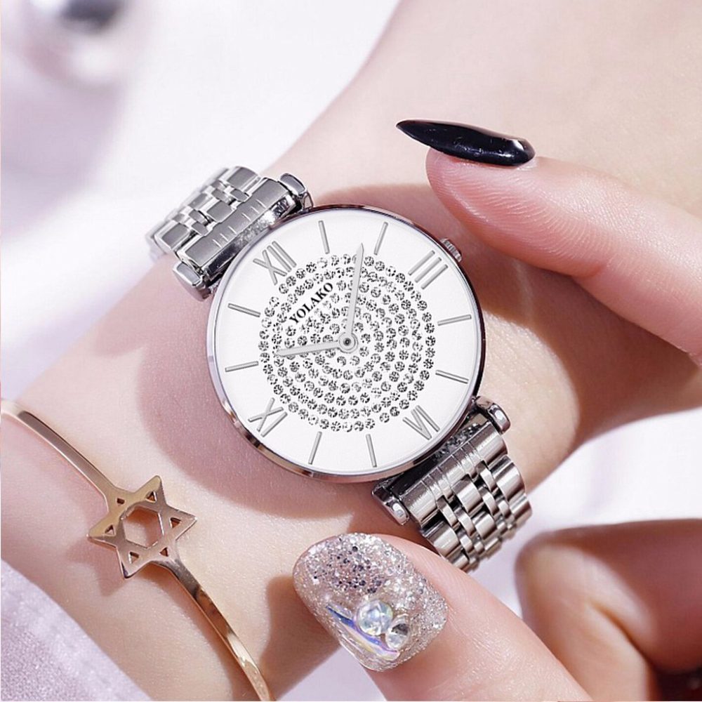 Silver Watches For Women Luxury Brand Fashion Diamond Stainless Steel Waterproof Quartz Wristwatch Gift Clock Montre Femme 2019