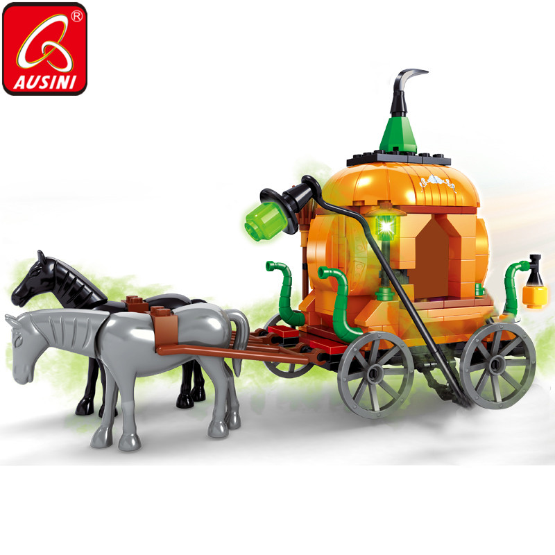 AUSINI Santo Witch Pumpkin Carriage Brinquedos Para Crianças Tijolos Blocos Buidling Modelo Decoração Mini Figura Criador Presente do Dia Das Bruxas