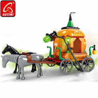 AUSINI Ghost Witch Pumpkin Carriage Toys For Children Buidling Bricks Blocks Halloween Model Decoration Mini Figure Creator Gift