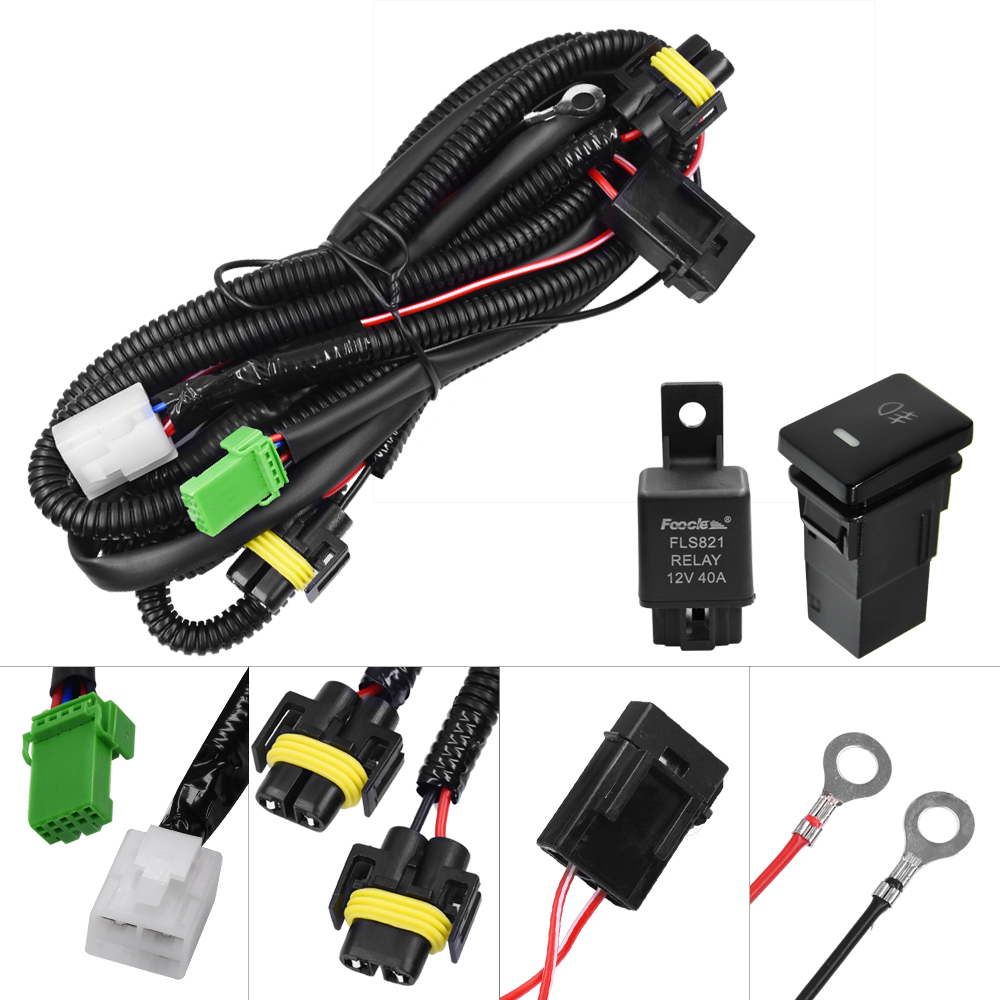 YUNPICAR H11 881Fog Light Wiring Harness Socket Wire Connector With 40A Relay ON/OFF Switch Kits For Toyota GM Hyundai Accent