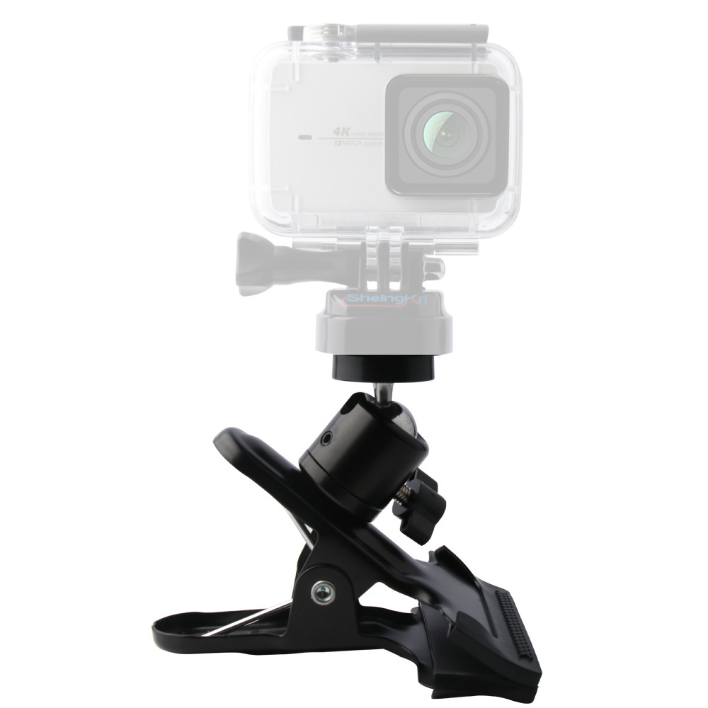 Portable Flexible Clamp for Gopro hero Action Cameras Metal Mini Tripod Ball Head Gimbal with Cold Shoe 1/4 Inch Screw