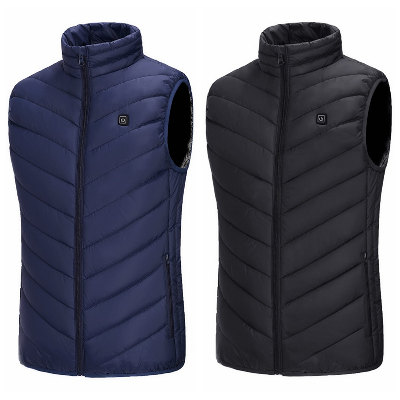 Outdoor Electric Heated Vest USB Heating Vest Winter Thermal Men's Cloth Feather Camping Hiking Warm Hunting Jacket New