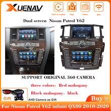 Новейший автомобильный радиоплеер с двумя экранами Android для Nissan патруль Y62 infiniti QX80 2010-2020, автомобильный стерео радиоприемник, мультимедийны...