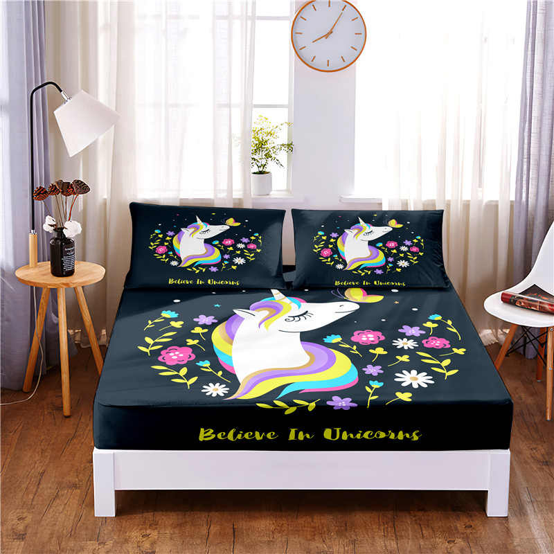 Cartoon Unicorn Digital Printed 3pc Polyester  Fitted Sheet Mattress Cover Four Corners with Elastic Band Bed Sheet Pillowcases