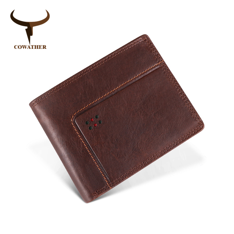 COWATHER Wallet For Men High Quality Cow Genuine Leather Male Wallet Newest Fashion Short Style Cowhide Purse Free Shipping