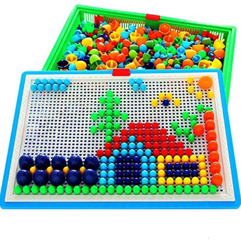 296 Mushroom Nail Intelligent 3D Puzzle Games DIY Mushroom Nail Plastic Flashboard Children Toys Educational Toy Random Color