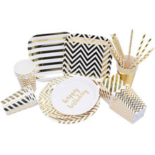 Merry Christmas Gold Striped Plates Cups Paper Straws Birthday Party Tableware Set Wedding Baby Shower Hen Party Supplies Decor 72pcs mint green with gold confetti cake plates 7 premium quality paper plates wedding bridal shower engagement party supplies