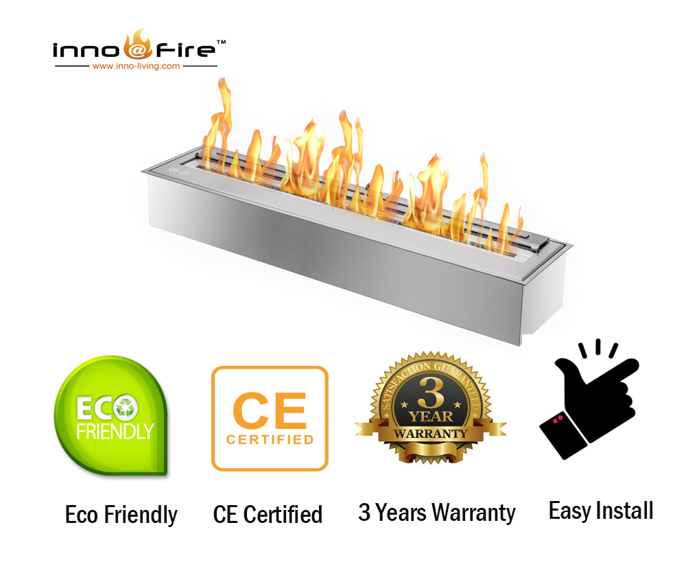 Inno Living Fire  48 Inch Built-in Fireplace Bio Ethanol Fuel Fire Pit