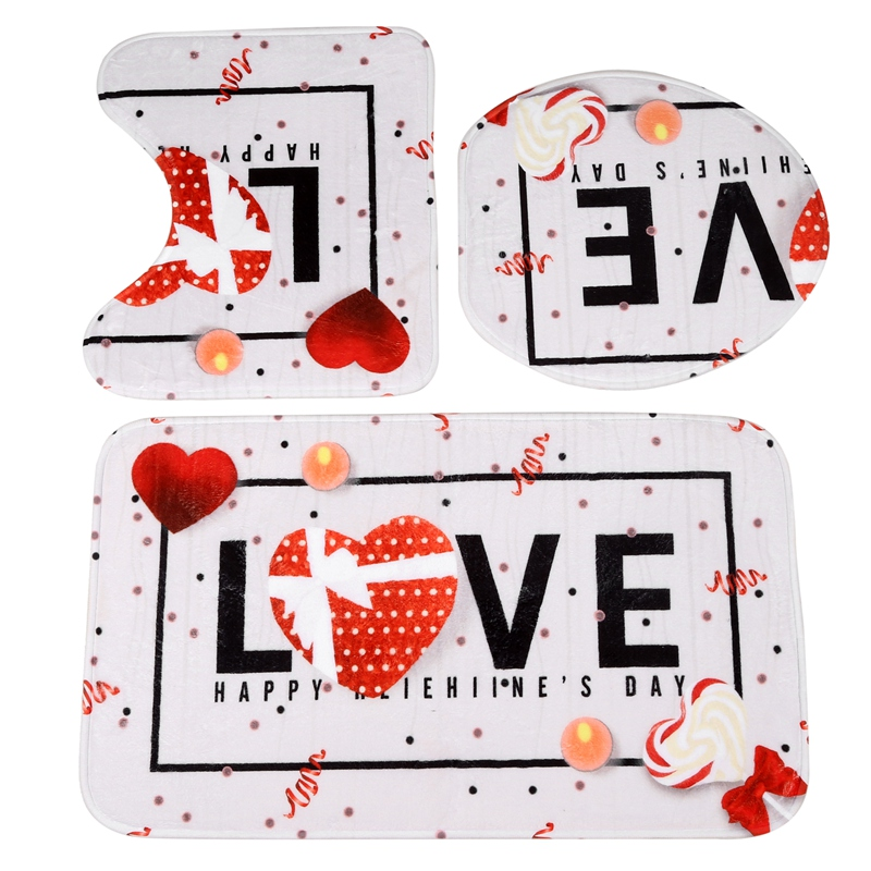 Love Pattern Bathroom Carpet Perfect For Valentine's Day Series Bath Rug 3Pcs/Set Bath Mat Toilet Mats Antiskid Durable Home Rug