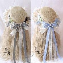 Sombrero de paja de Lolita de celosía, Pastoral, Pastoral, salvaje, japonés, agradable arco, sombrilla, sombrero