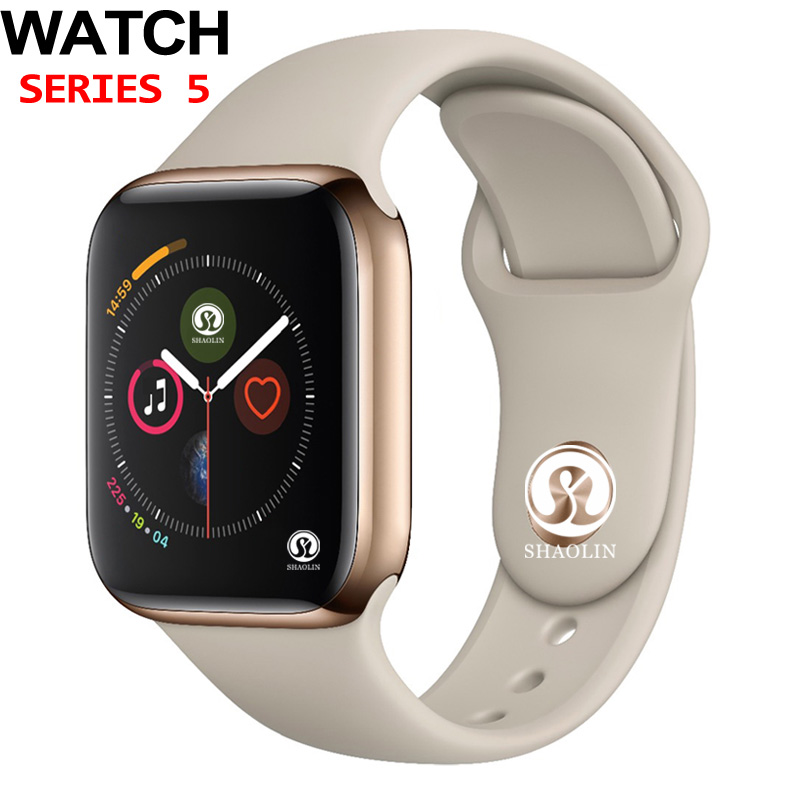 50% de réduction 42mm montre intelligente série 5 horloge Push Message connectivité Bluetooth pour téléphone Android IOS apple iPhone 6 7 8 X Smartwatch